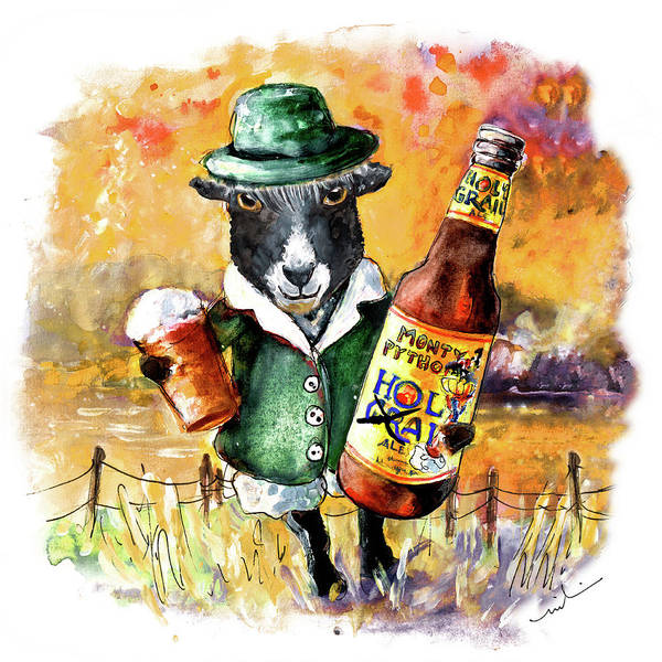 Painting - Black Sheep Drinking Holy Grail Beer by Miki De Goodaboom