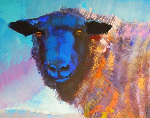 Mixed Media - Black Sheep With Staring Eyes by Mike Jory
