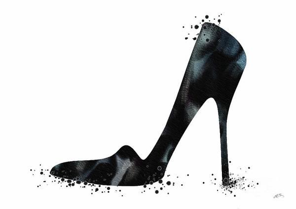 Wedding Gift Digital Art - Black Shoe Fashion Watercolor Print  by Svetla Tancheva