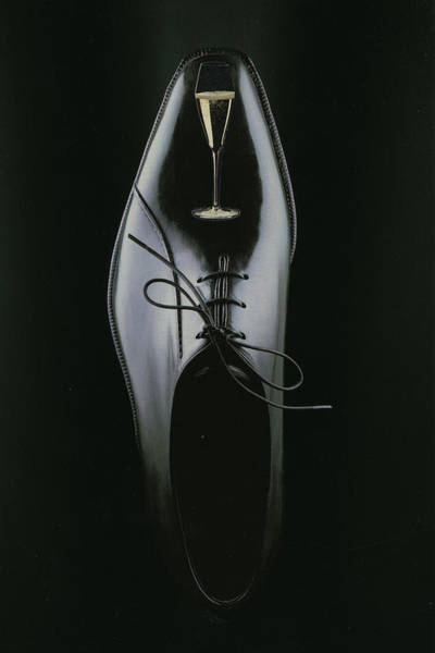 Champagne Mixed Media - Black Shoe by Francine Gourguechon