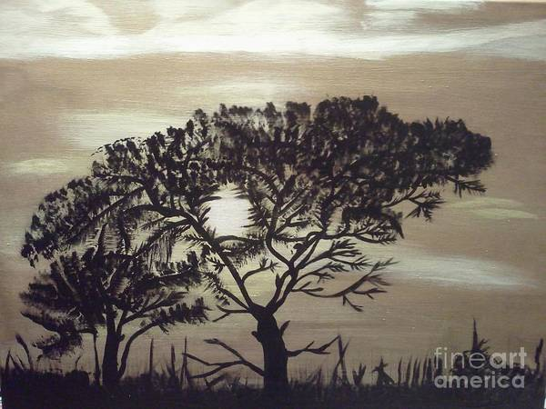 Black Silhouette Tree Art Print