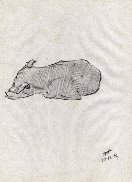 Restaurant Decor Drawing - Black Sketch Of A Dog Sleeping From Front Left  by Makarand Joshi