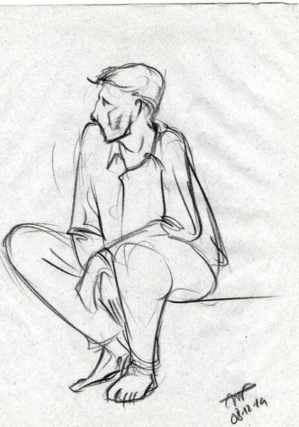 Restaurant Decor Drawing - Black Sketch Of A Man Sitting And Waiting by Makarand Joshi