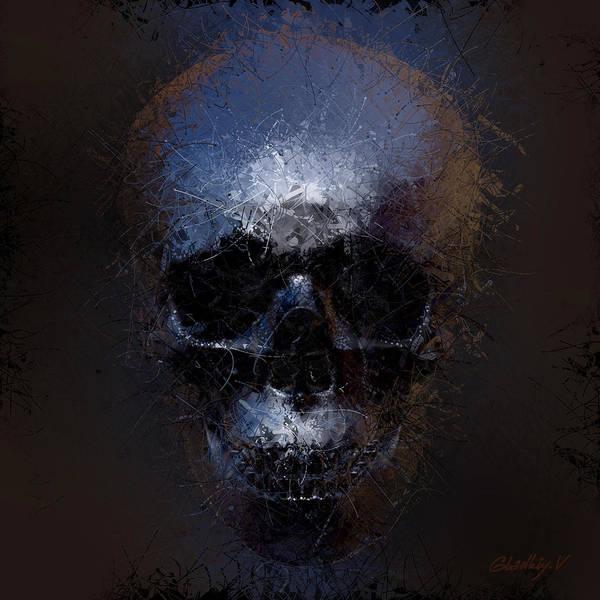 Human Bone Wall Art - Digital Art - Black Skull by Vitaliy Gladkiy