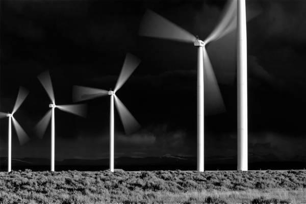 Photograph - Black Sky White Windmills by David Andersen