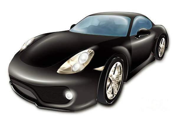 Digital Art - Black  Sport Car by Benny Marty