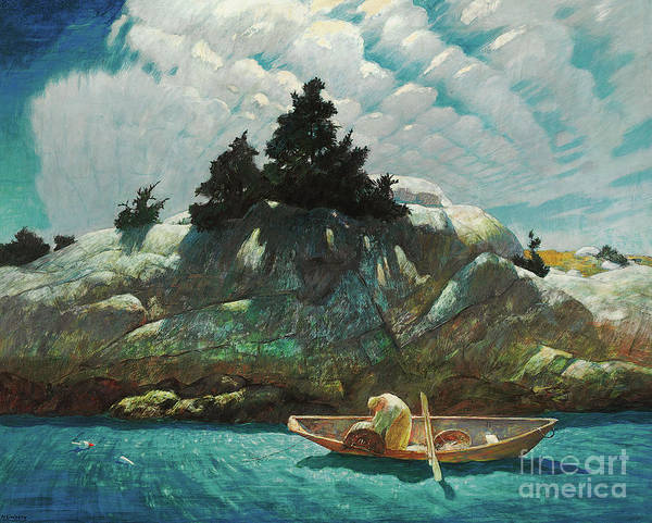 Wall Art - Painting - Black Spruce Ledge  Lobstering Off Black Spruce Ledge by Newell Convers Wyeth