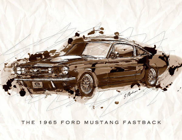Wall Art - Digital Art - Black Stallion 1965 Ford Mustang Fastback #2 by Gary Bodnar
