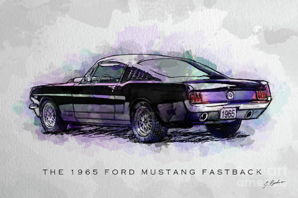 Wall Art - Digital Art - Black Stallion 1965 Ford Mustang Fastback by Gary Bodnar