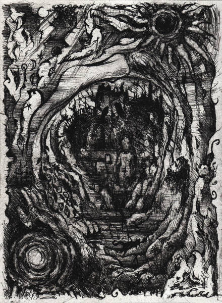 Haunted House Drawing - Black Sun Moon by William Russell Nowicki