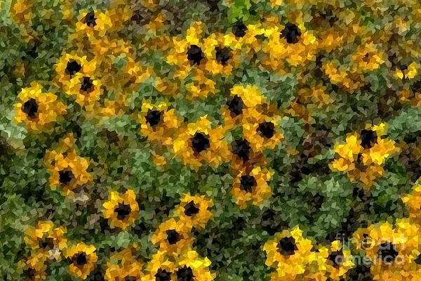 Digital Art - Black Susan Flowers In Mosaic by Les Palenik
