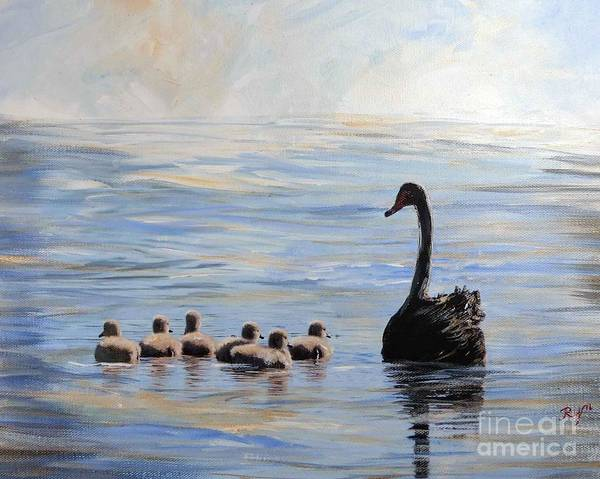Painting - Black Swan And Cygnets by Ryn Shell