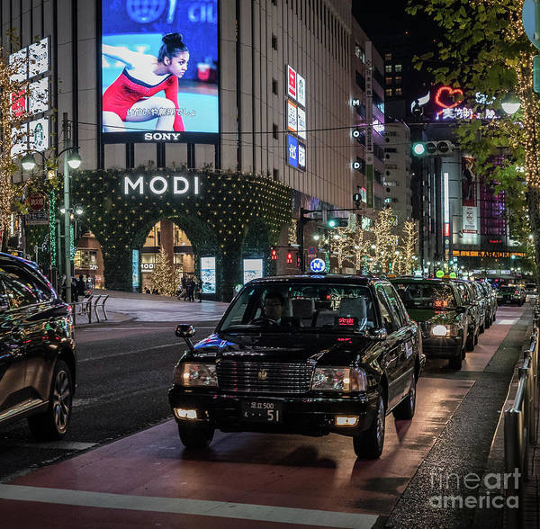 Art Print featuring the photograph Black Taxi In Tokyo, Japan by Perry Rodriguez