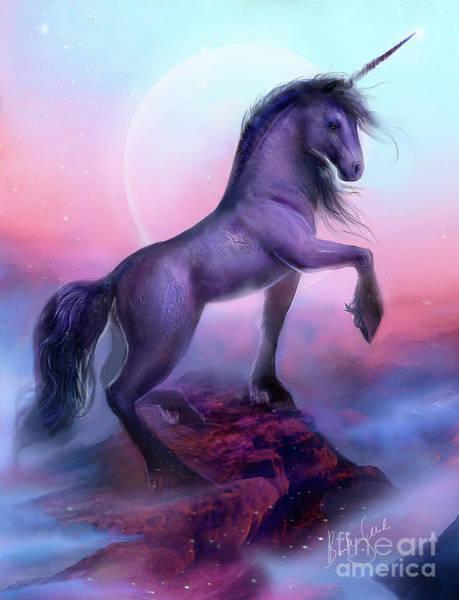 Cyan Digital Art - Black Unicorn by MGL Meiklejohn Graphics Licensing