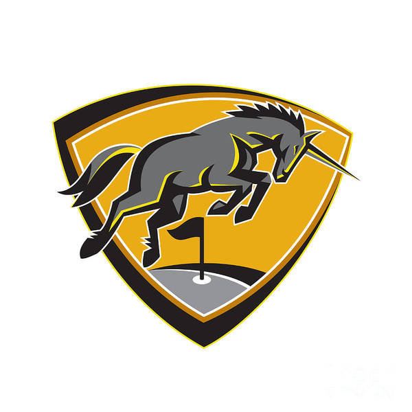 Unicorn Horn Digital Art - Black Unicorn Horse Charging Golf Course Retro by Aloysius Patrimonio