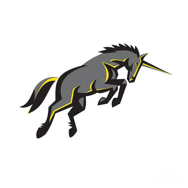 Unicorn Wall Art - Digital Art - Black Unicorn Horse Charging Isolated Retro by Aloysius Patrimonio