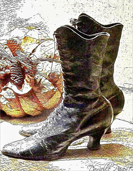 Digital Art - Black Victorian Boots by Danielle  Parent