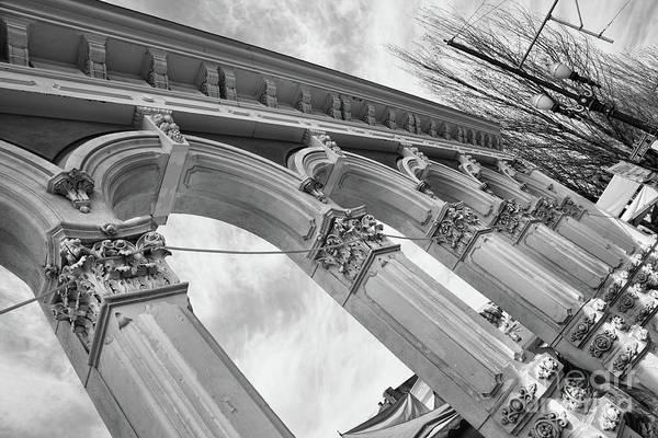 Wall Art - Photograph - Black White Colonnade Portland  by Chuck Kuhn