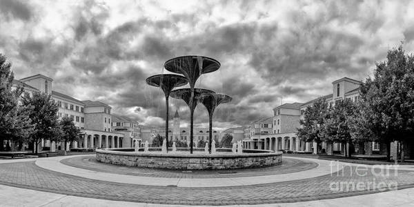 Photograph - Black White Panorama Of Texas Christian University Campus Commons And Frog Fountain - Fort Worth  by Silvio Ligutti