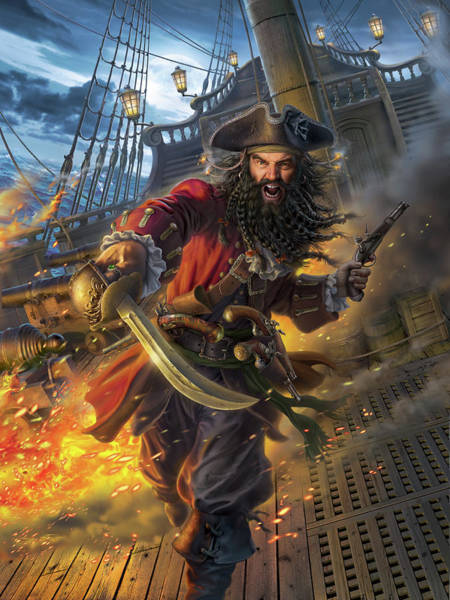 Caribbean Wall Art - Digital Art - Blackbeard by Mark Fredrickson
