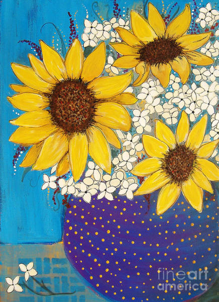 Painting - Blackeyed Susans In A Purple Vase by Lee Owenby