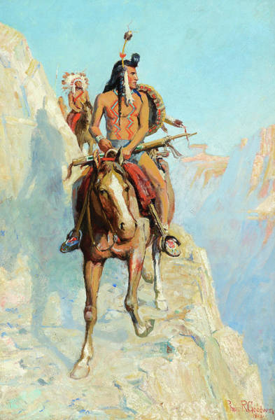 Turkey Feather Wall Art - Painting - Blackfeet Indians On The War Path by Philip R Goodwin