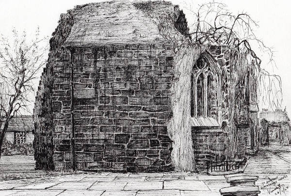 Weeds Drawing - Blackfriars Chapel St Andrews by Vincent Alexander Booth