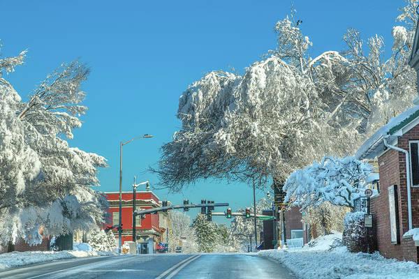 Wall Art - Photograph - Blacksburg Virginia Main Street Sunday Snow 1 by Betsy Knapp
