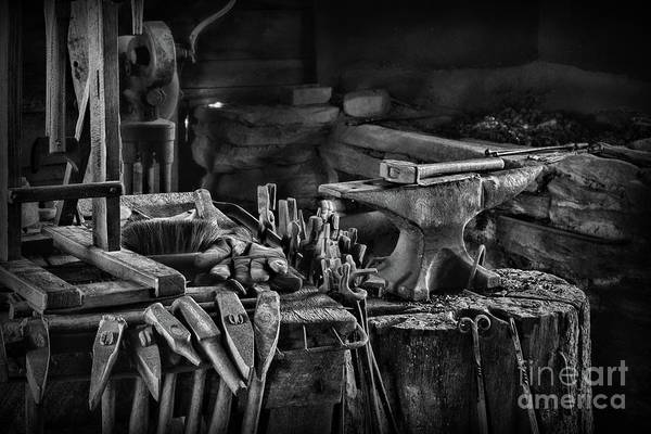 Wall Art - Photograph - Blacksmith-this Is My Anvil Black And White by Paul Ward