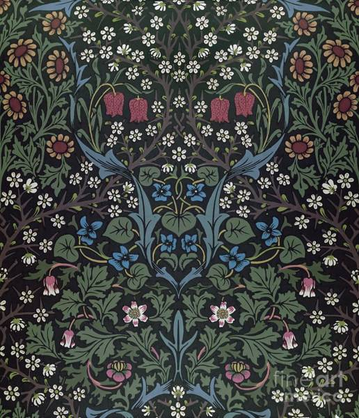 Floral Design Drawing - Blackthorn Wallpaper Design by William Morris