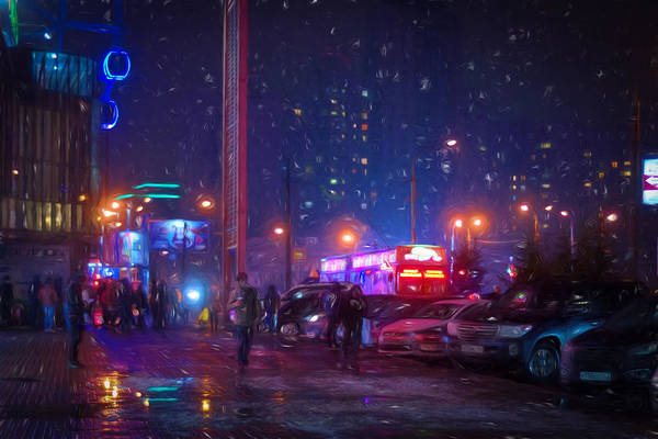 Photograph - Bladerunner Style Neon Urban City Oil by John Williams