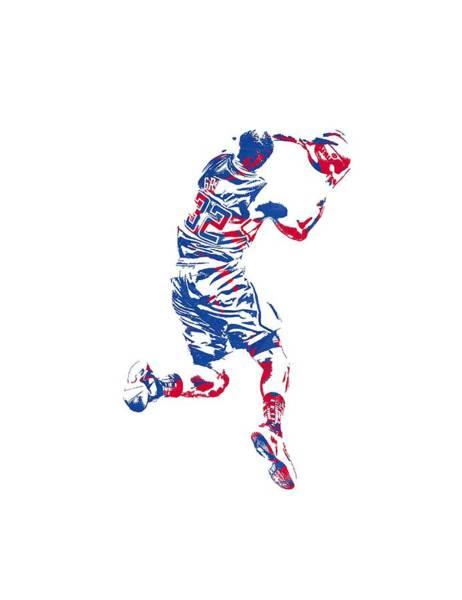 Clipper Wall Art - Mixed Media - Blake Griffin Clippers Pixel Art T Shirt by Joe Hamilton