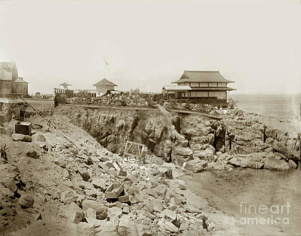 Photograph - Blasting Rocks At Love's Point Beach, 1904 by California Views Archives Mr Pat Hathaway Archives
