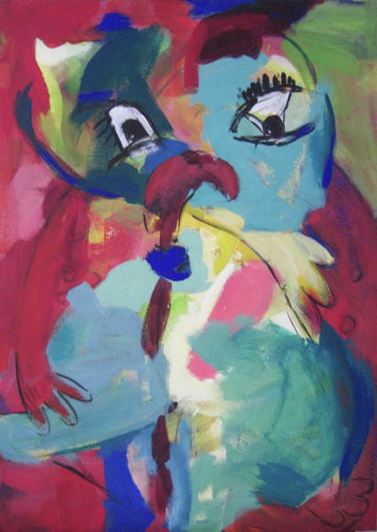 Painting - Blaugruene Figur/ Bluegreen Figure by Annette Kunow