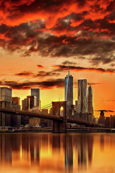 Lower Manhattan Photograph - Blazing Manhattan Skyline by Az Jackson