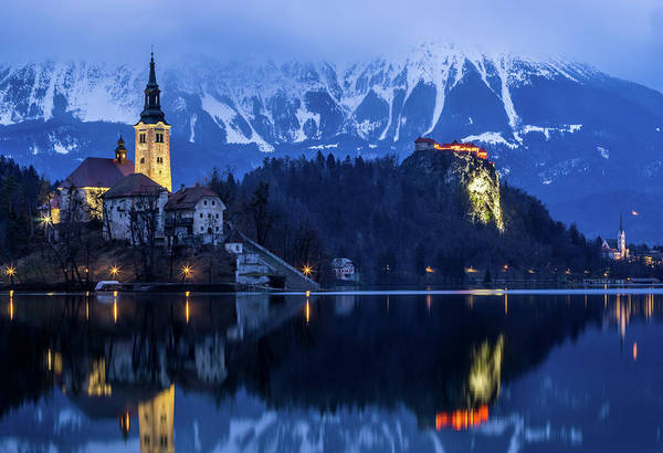 Bluehour Photograph - Bled Lake At Blue Hour by Vyacheslav Isaev