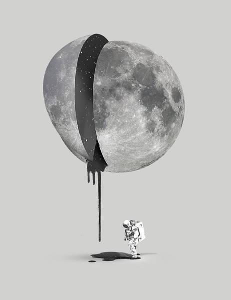Space Mixed Media - Bleeding Moon by Robert Farkas