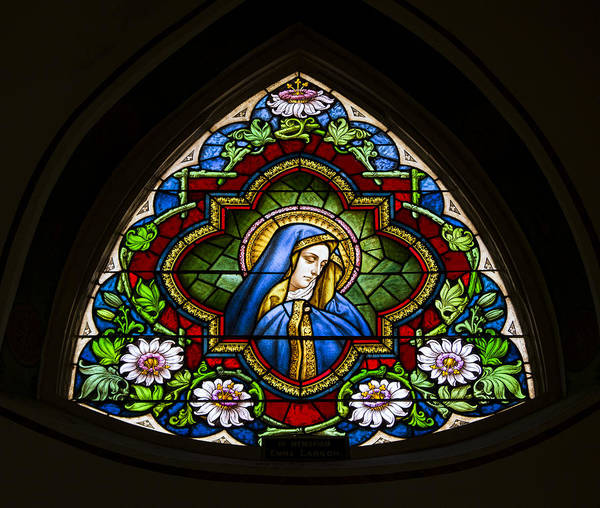 Wall Art - Photograph - Blessed Virgin Mary Stained Glass by Stephen Stookey