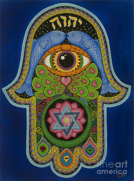 Hamsa Wall Art - Painting - Blessing by Galina Bachmanova