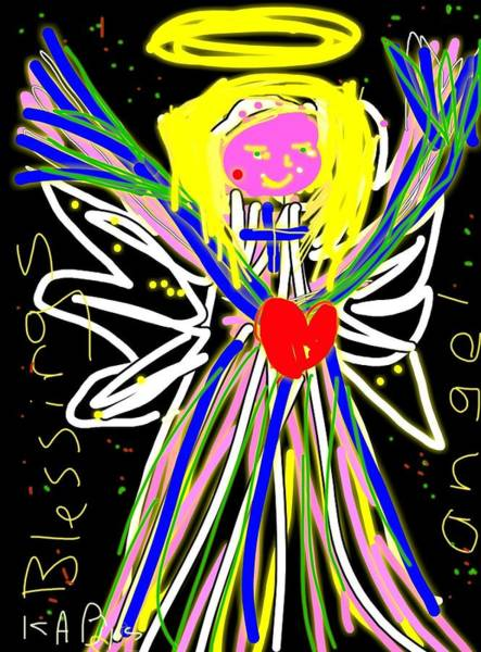Sketch Holiday Photograph - Blessings Angel by Kathy Barney