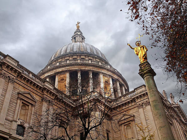 Photograph - Blessings - Gold Statue Of St. Paul Outside The Cathedral In London by Gill Billington