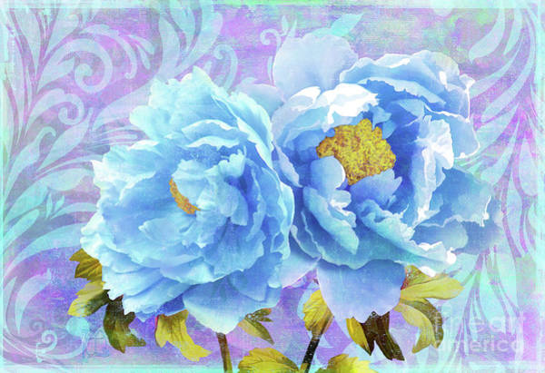 Wall Art - Painting - Bleu, Painterly Blue Peony Floral Art by Tina Lavoie