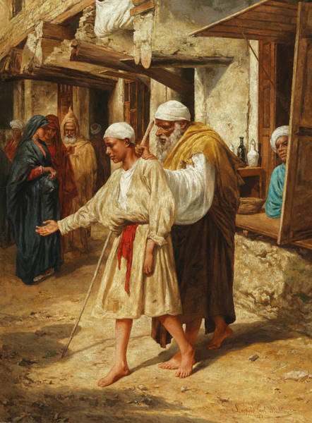 Painting - Blind Beggar by Leopold Muller