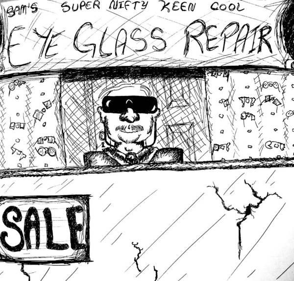 Laugh Drawing - Blind Eye Glass Repair by Jera Sky