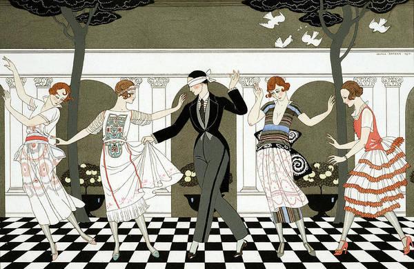Dancing Men Painting - Blind Man's Buff by Georges Barbier