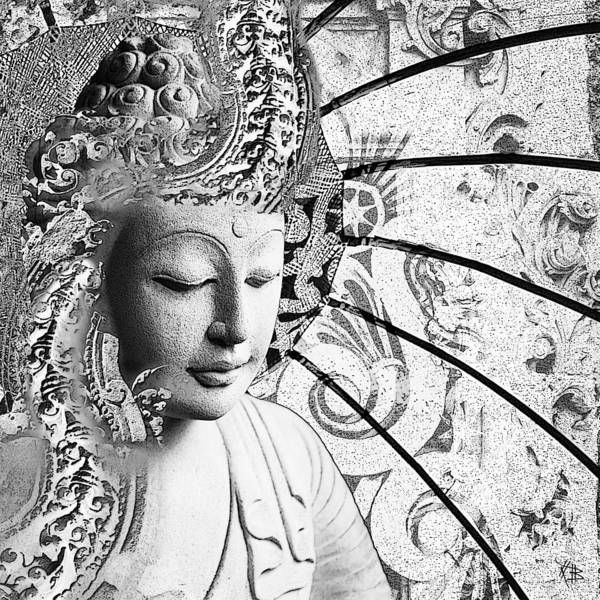 Art Print featuring the digital art Bliss Of Being - Black And White Buddha Art by Christopher Beikmann