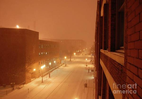 Photograph - Blizzard Market Street Lowell Ma by Mary McAvoy