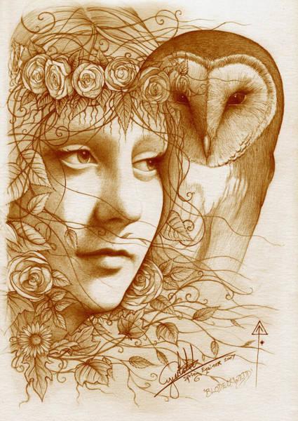 Goddess Drawing - Blodeuwedd by Yuri Leitch