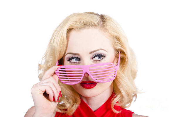 Manicure Wall Art - Photograph - Blond Pinup Girl In Stylish Retro Pink Shades by Jorgo Photography - Wall Art Gallery