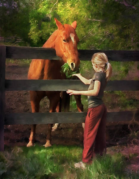 Digital Art - Blond With Horse by Ann Lauwers